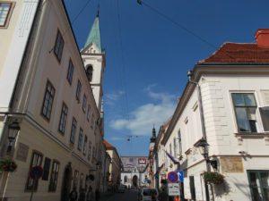 Street towards St. Mark's church in Zagreb