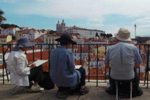 Tourists Painting Lisbon
