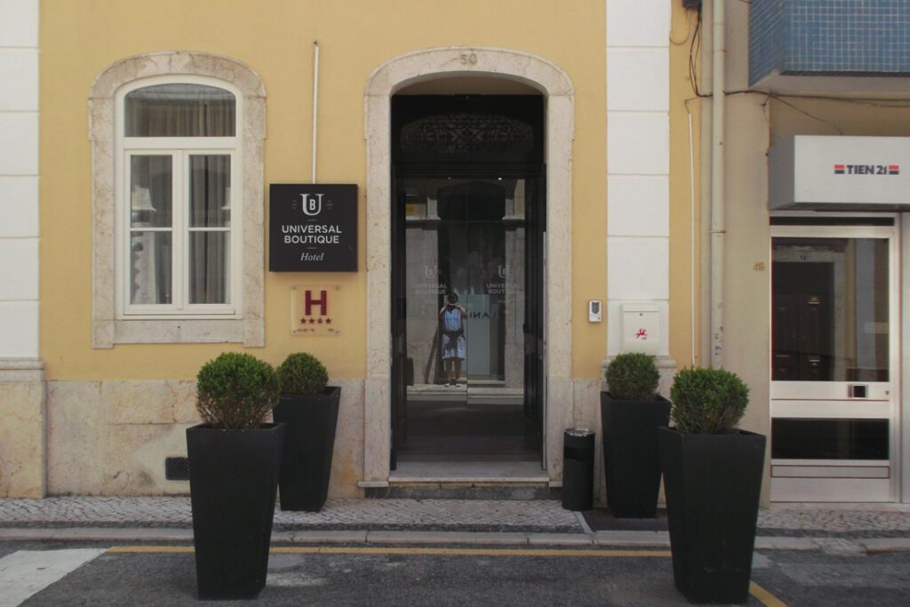 Entrance to the Universal Boutique Hotel in Figueira da Foz, Portugal