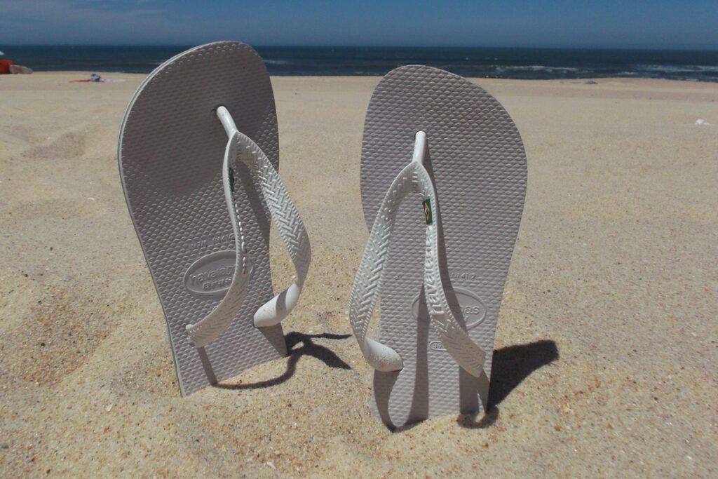 Flip flops on the beach of Figueira da Foz