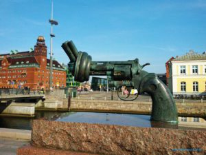 "Sculpture""Non-Violence"" by Carl Fredrik Reuterswärd in Malmö, Sweden"