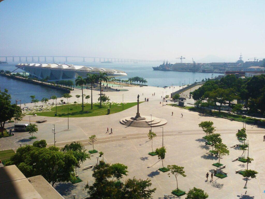 Museu do Amanha, seen from the Museu de Arte do Rio.