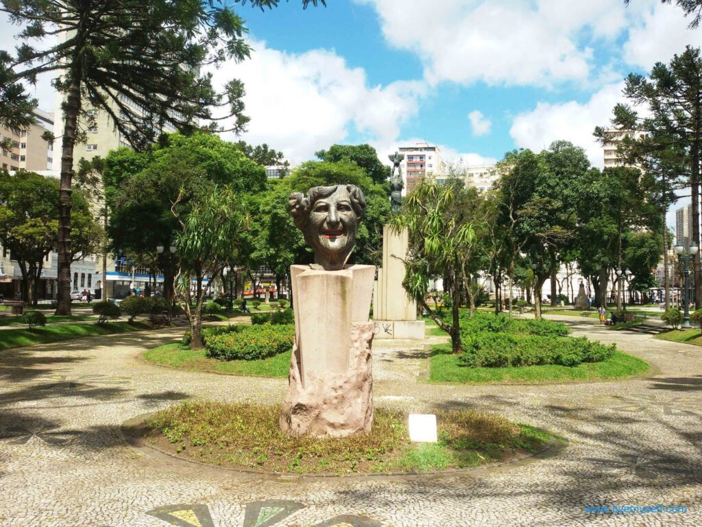 Bust of Ms Lala Schneider on the Santos Andrade square in Curitiba.