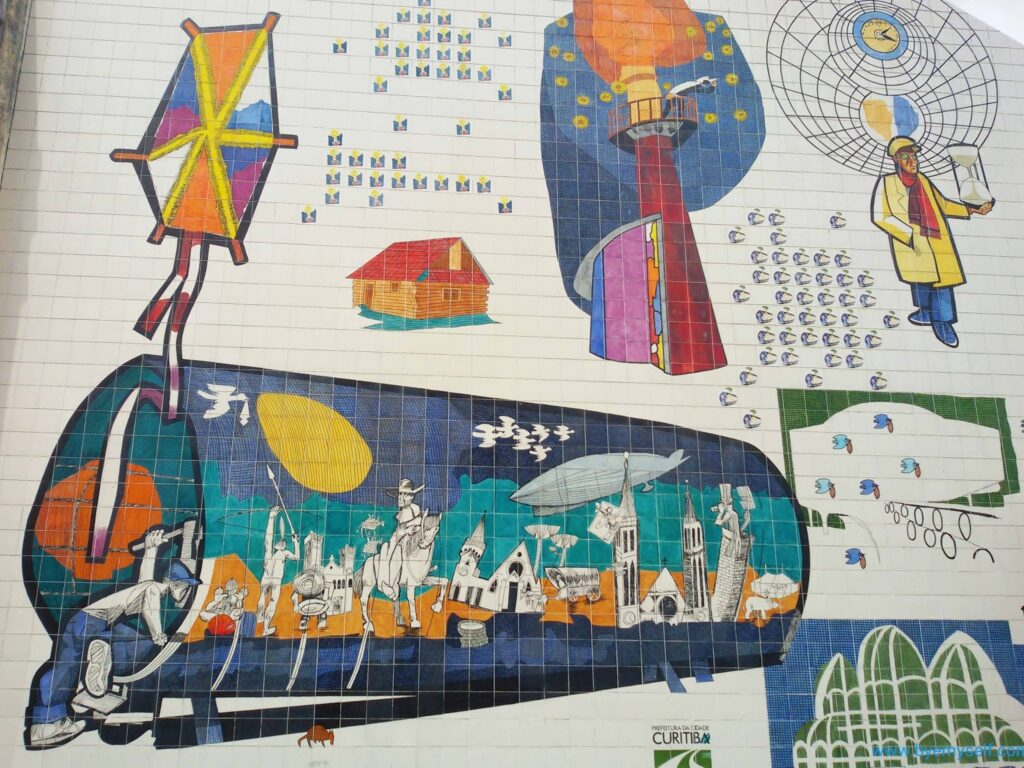 Tyle mural by Poty depicting a bus stop in Curitiba