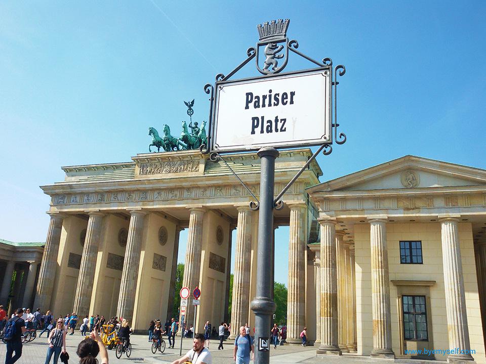 Brandenburg Gate in Berlin, Germany, seen from the Pariser Platz