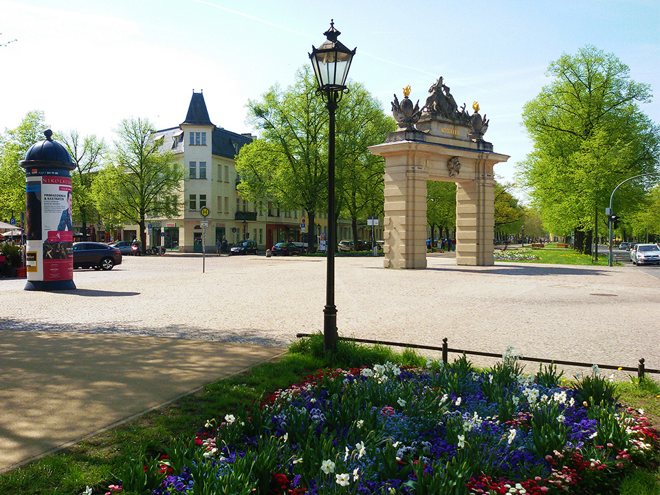 The Jägertor, hunter's gate, in the middle of the beautiful promenade Hegelallee.