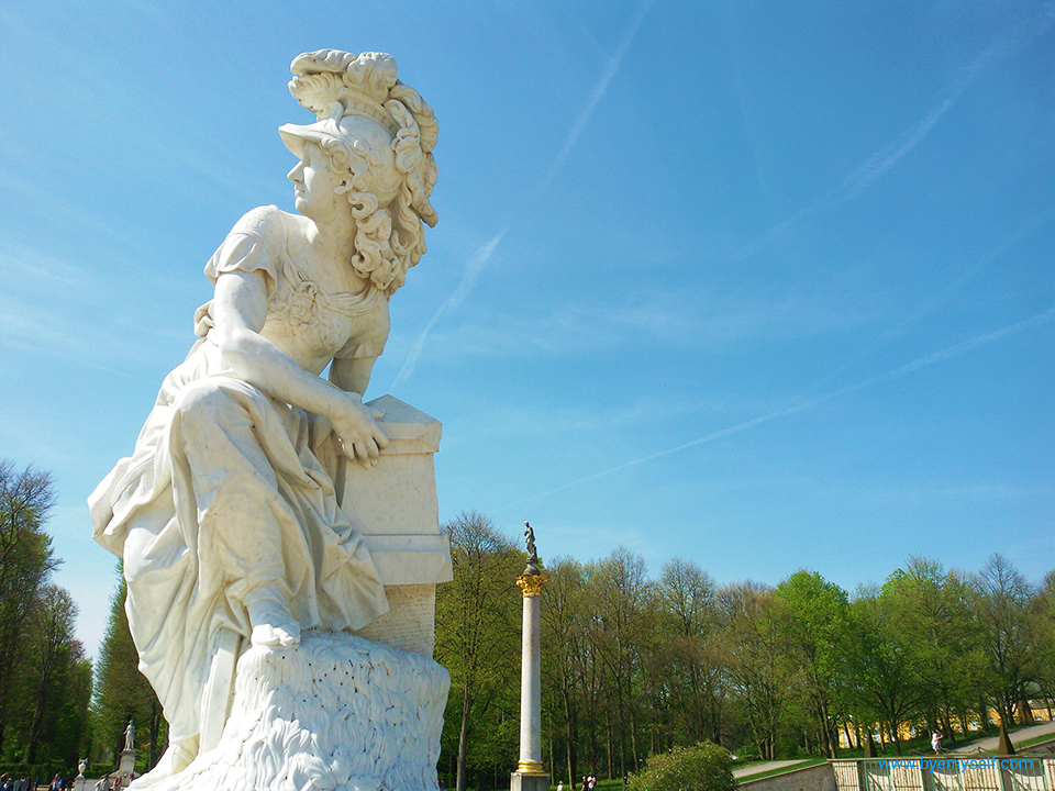 Statue of Minerva, one of the gods and goddesses adorning the large fountain at Sanssoucis in Potsdam