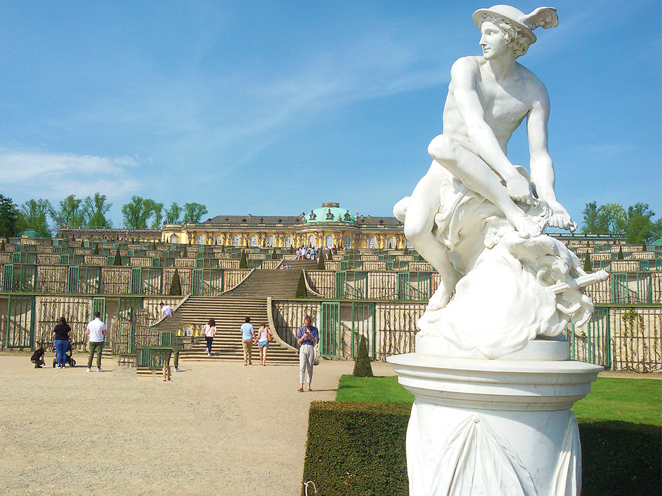 Statue of Mercury in front of Sanssouci Palace on top of the vineyard