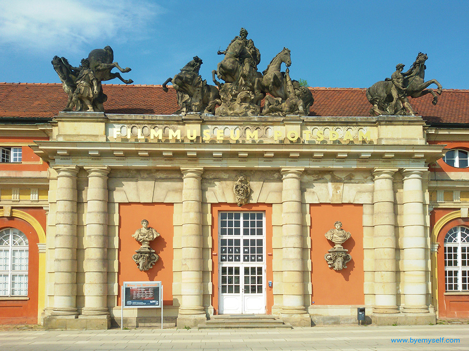 Entrance to the Filmmuseum in Potsdam, the great small town, introduced in this guide