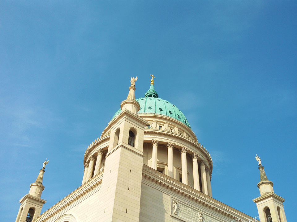 The tambour cupola of Saint Nicholas Church in Potsdam, the great small town, introduced in this guide