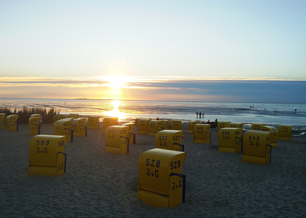 Sunset over the beach at Cuxhaven from where you can walk on water