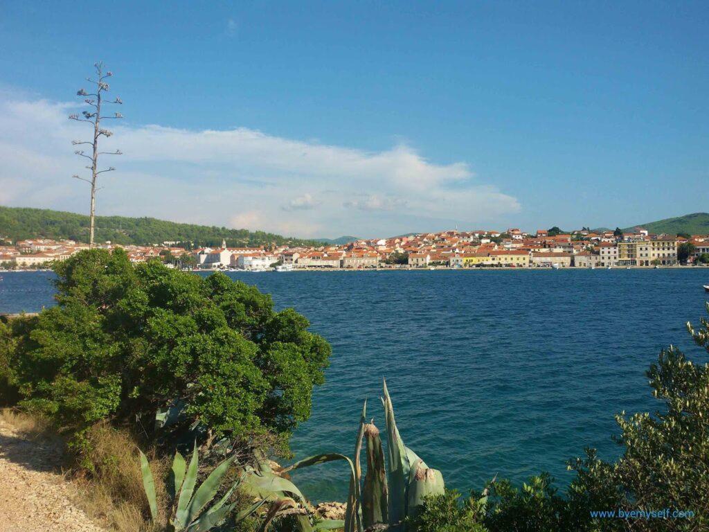 View of Korčula town from the Uvala Plitvine bay.