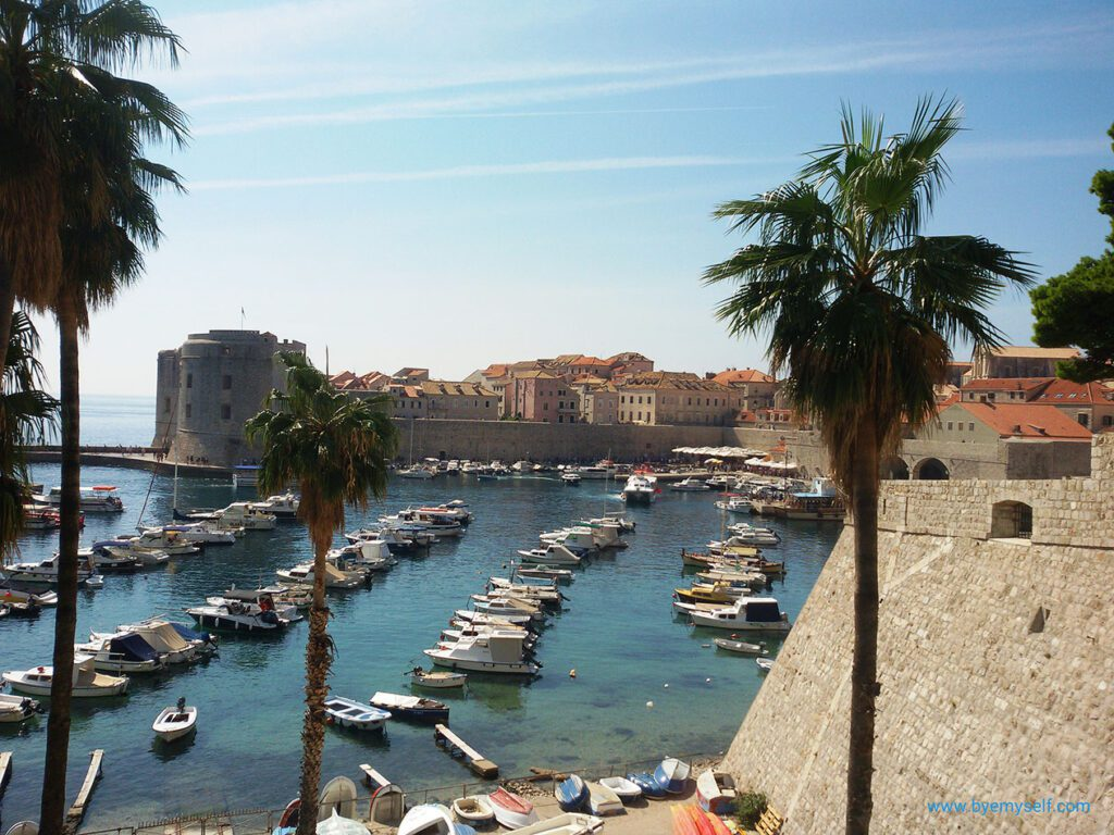 View of the port and the historic old town of Dubrovnik, the Lustrous Pearl of Dalmatia
