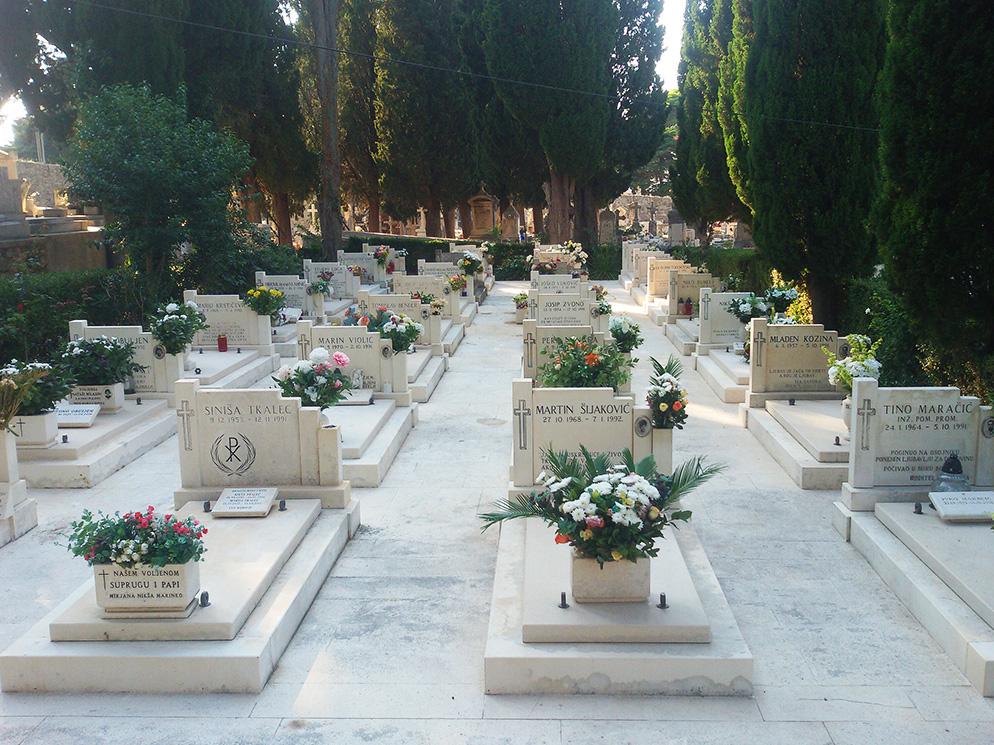 Graves of Croatian soldiers who died in the Croatian war between 1991 and 1994 in Dubrovnik Croatia