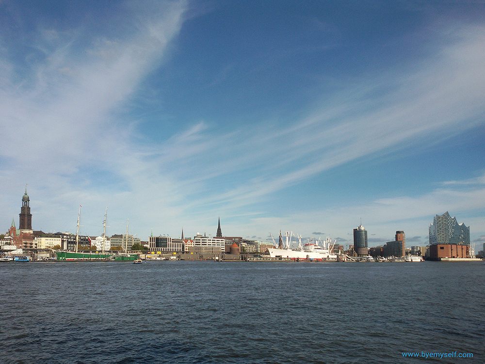 View of the harbor of Hamburg