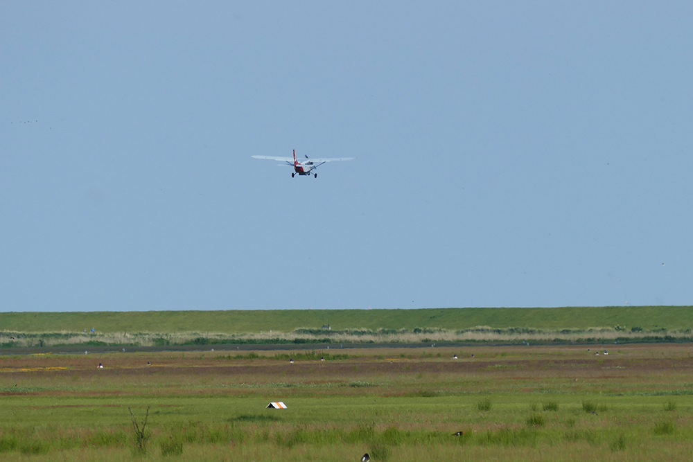 Borkum Airport and an Airplane
