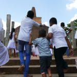 Faithful rushing to the Abayagiri Dagaba in Anuradhapura Sri Lanka