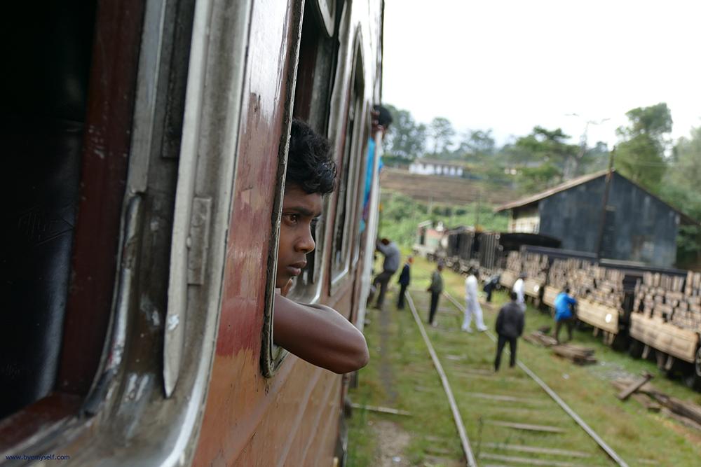 Young man on a train from Haputale to Nuwara Eliya