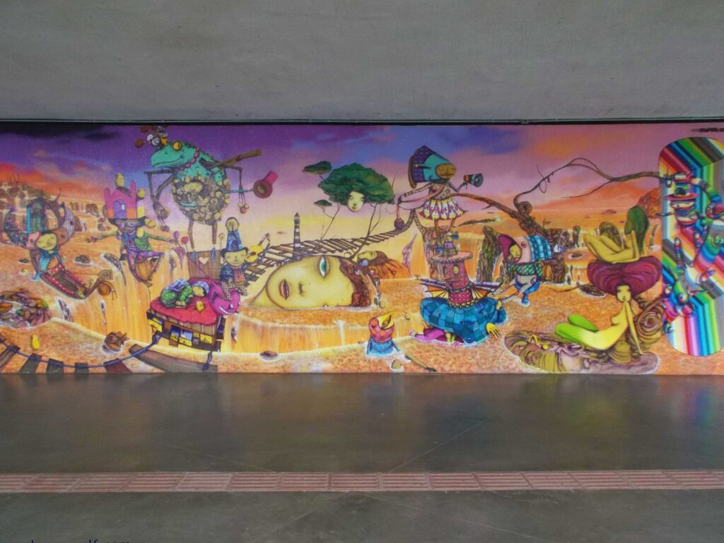 Museu de Arte Moderna - decorated by a mural created by two other Brazilian graffiti super stars, namely OSGEMEOS.