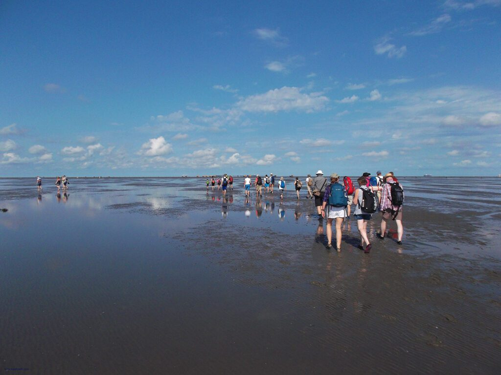 People crossing the mudflat from Cuxhaven to Neuwerk