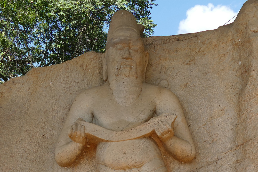Staue of King Parakramabahu I in Polonnaruwa in Sri Lanka