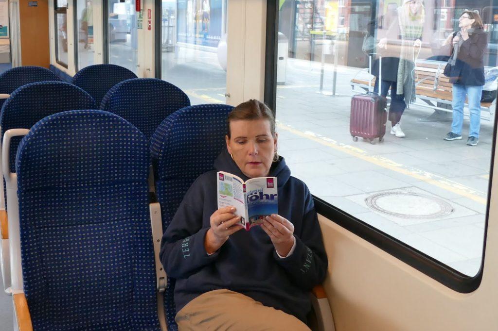 Renata Green on the train to Foehr