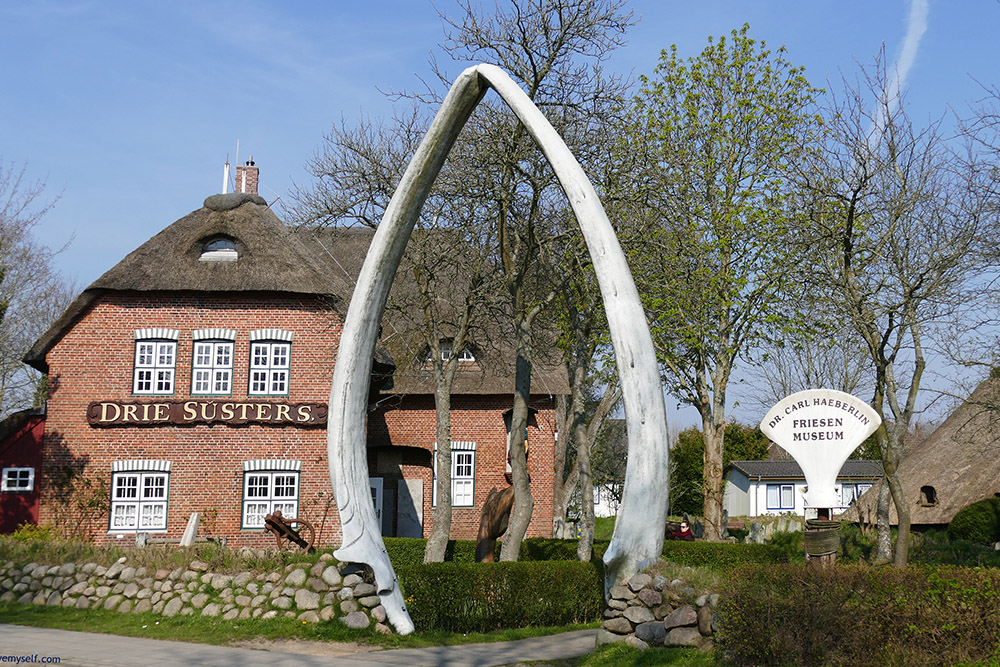 The entrance to the Friesen museum is a gate made of huge whale jawbone.