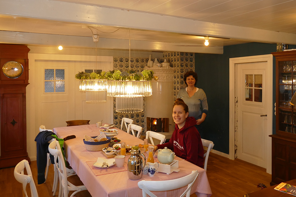 Enjoying the generous breakfast before getting ready for a long hike at the Wadden Sea off the island of Foehr