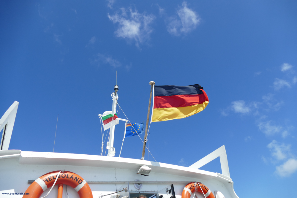 German Flag on top of a ferry
