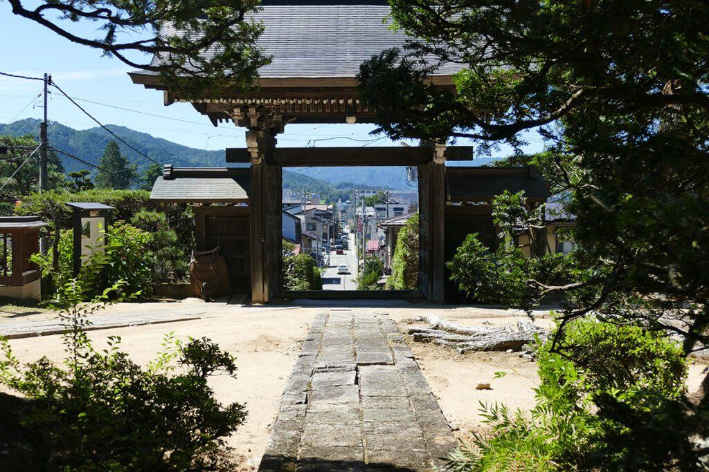View of Takayama through the Hokkeji Shrine in TAKAYAMA on a travel back in time and a side trip to SHIRAKAWAGO
