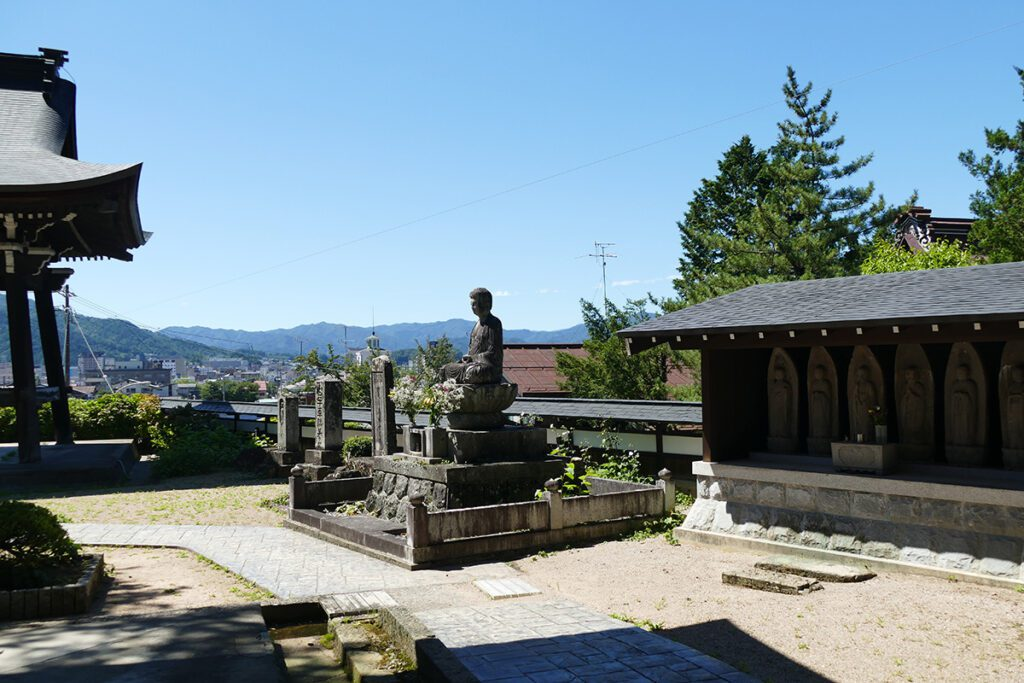 Buddha overlooking Takayama from the Hokkeji Temple in TAKAYAMA on a travel back in time and a side trip to SHIRAKAWAGO