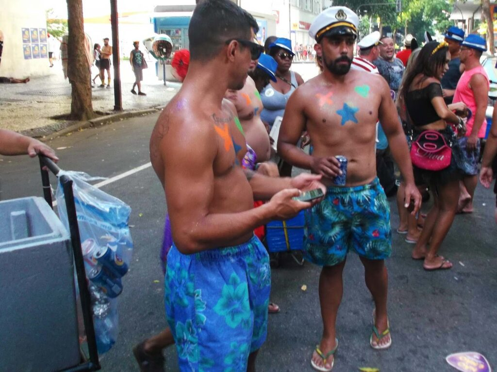 Bare-chested men in Rio de Janeiro