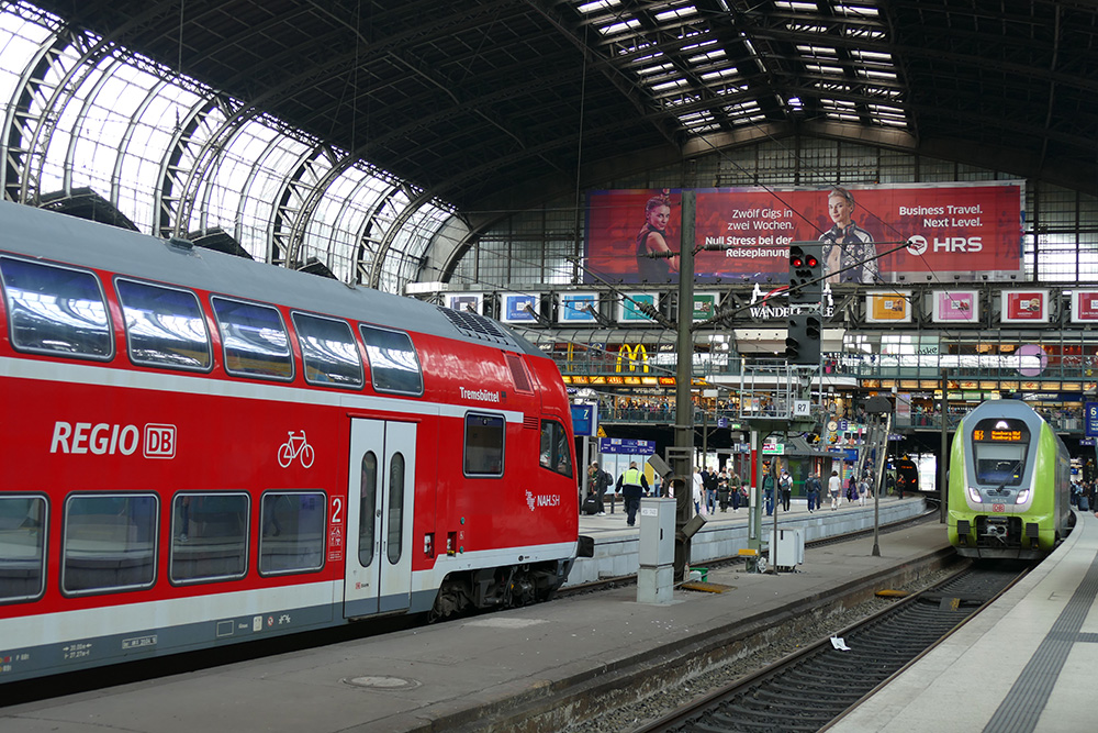 Hamburg train station with regional trains taking you to the NordArt 2017 in Büdelsdorf.